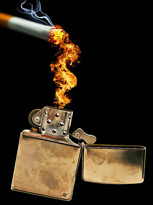 Zippo Lighter And Cigarette Original by Tony Rubino