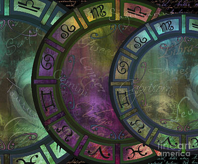 Sun Signs Painting - Zodiac Wheel by Mindy Sommers