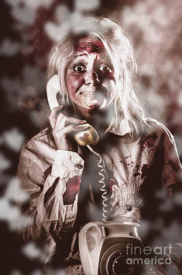 Zombie Girl Making Phone Call To Dead Valentine Print by Jorgo Photography - Wall Art Gallery