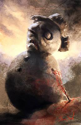 Zombie Snowman Print by Sean Seal