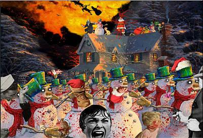 Zombie Snowmen Christmas Print by Barry Kite