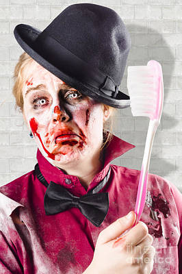 Zombie With Big Toothbrush. Fear Of The Dentist Print by Jorgo Photography - Wall Art Gallery