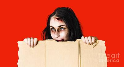 Cardboard Photograph - Zombie Woman Peering Out Cardboard Box by Jorgo Photography - Wall Art Gallery