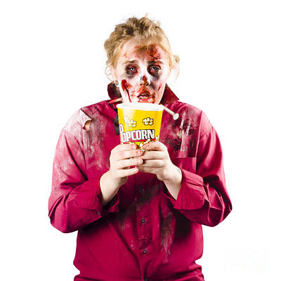 Horror Movies Photograph - Zombie Woman With Popcorn by Jorgo Photography - Wall Art Gallery
