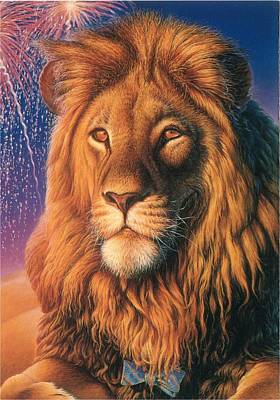 Fireworks Painting - Zoofari Poster The Lion by Hans Droog