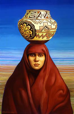 Water Jars Painting - Zuni Woman by Jane Whiting Chrzanoska