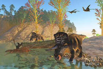 Microraptor Painting - Zuniceratops River by Corey Ford
