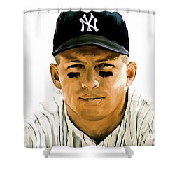 American Icon Mickey Mantle Shower Curtain by Iconic Images Art Gallery David Pucciarelli