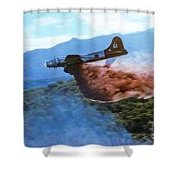 Shower Curtain featuring the photograph  B-17 Air Tanker Dropping Fire Retardant by Bill Gabbert