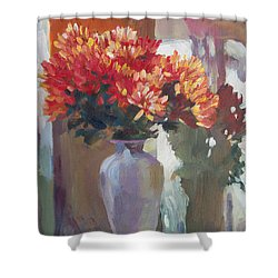 Chrysanthemums In Vase Shower Curtain by David Lloyd Glover