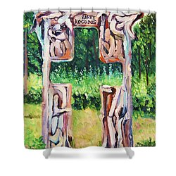 Cross Gate On The Hill Shower Curtain by Misuk Jenkins