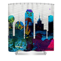 Dallas City Skyline Shower Curtain by Naxart Studio