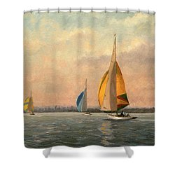 Late Finish Shower Curtain by Vic Trevett