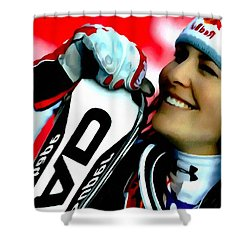 Lindsey Vonn Skiing Shower Curtain by Lanjee Chee