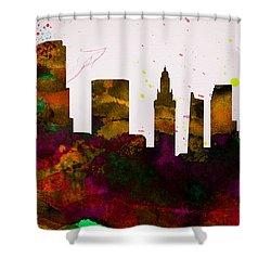 Miami City Skyline Shower Curtain by Naxart Studio