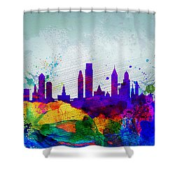 Philadelphia Watercolor Skyline Shower Curtain by Naxart Studio