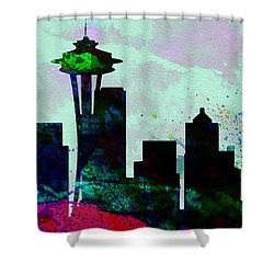 Seattle City Skyline Shower Curtain by Naxart Studio