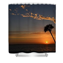 0502 Palms With Sunrise Colors On Santa Rosa Sound Shower Curtain by Jeff at JSJ Photography