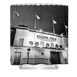0879 Soldier Field Black And White Shower Curtain by Steve Sturgill