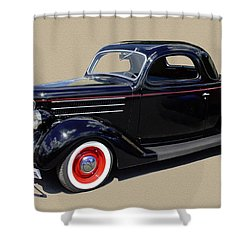 1936 Ford 3 Window Coupe Shower Curtain by Jack Pumphrey