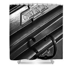 1937 Chevrolet Custom Pickup Emblem Shower Curtain by Jill Reger
