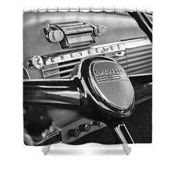 1950 Chevrolet 3100 Pickup Truck Steering Wheel Shower Curtain by Jill Reger