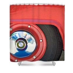 1958 Bmw Isetta 300 Wheel Emblem Shower Curtain by Jill Reger