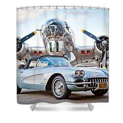 1960 Chevrolet Corvette Shower Curtain by Jill Reger