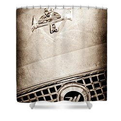 1960 Nash Metropolitan Hood Ornament - Grille Emblem Shower Curtain by Jill Reger