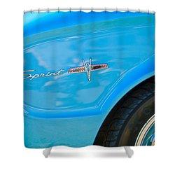 1963 Ford Falcon Sprint Side Emblem Shower Curtain by Jill Reger