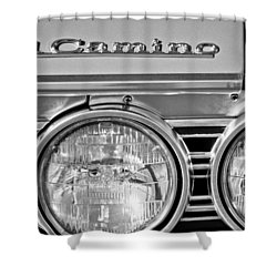 1967 Chevrolet El Camino Pickup Truck Headlight Emblem Shower Curtain by Jill Reger