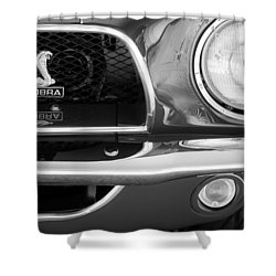 1968 Ford Mustang Fastback 427 Ci Cobra Grille Emblem Shower Curtain by Jill Reger