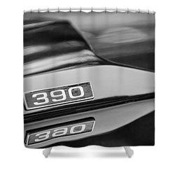 1969 Ford Mustang Mach 1 390 Hood Emblem Shower Curtain by Jill Reger