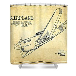 Airplane Patent Drawing From 1943-vintage Shower Curtain by Aged Pixel