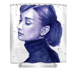 Audrey Hepburn Portrait Shower Curtain by Olga Shvartsur