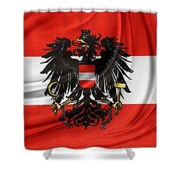 Austrian Flag Shower Curtain by Les Cunliffe