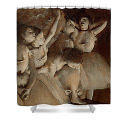 Ballet Rehearsal On Stage Shower Curtain by Edgar Degas