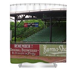 Baseball Field Burma Shave Sign Shower Curtain by Frank Romeo