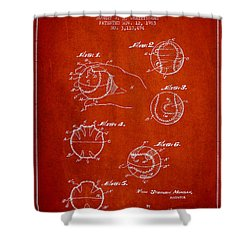 Baseball Training Device Patent Drawing From 1963 Shower Curtain by Aged Pixel