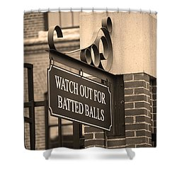 Baseball Warning Shower Curtain by Frank Romeo