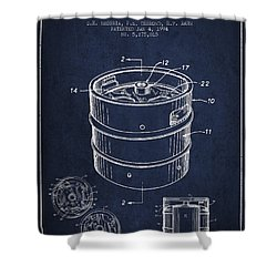 Beer Keg Patent Drawing - Green Shower Curtain by Aged Pixel