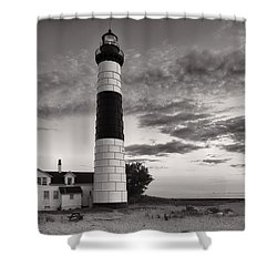 Big Sable Point Lighthouse In Black And White Shower Curtain by Sebastian Musial