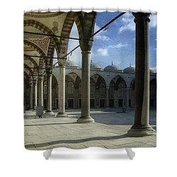 Blue Mosque Courtyard Shower Curtain by Joan Carroll