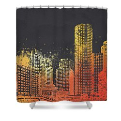Boston City Skyline Shower Curtain by Aged Pixel