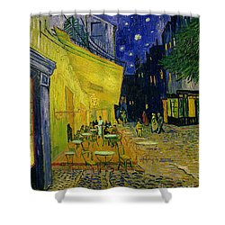 Cafe Terrace Arles Shower Curtain by Vincent van Gogh
