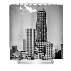 Chicago Hancock Building Black And White Picture Shower Curtain by Paul Velgos