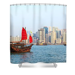 Chinese Junk Boat Sailing In Hong Kong Harbor Shower Curtain by Matteo Colombo
