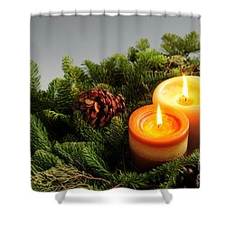 Christmas Candles Shower Curtain by Elena Elisseeva