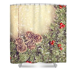 Christmas Garland Shower Curtain by Amanda And Christopher Elwell