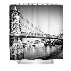 Cincinnati Roebling Bridge Black And White Picture Shower Curtain by Paul Velgos